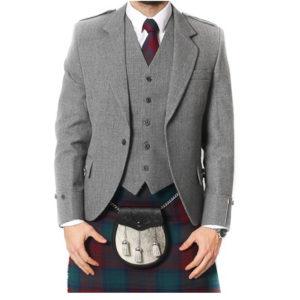 Light Grey Tweed Argyle Jacket And 5 Button Vest-6