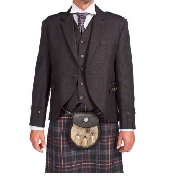 Tweed Argyle Jacket With 5 Button Vest-1