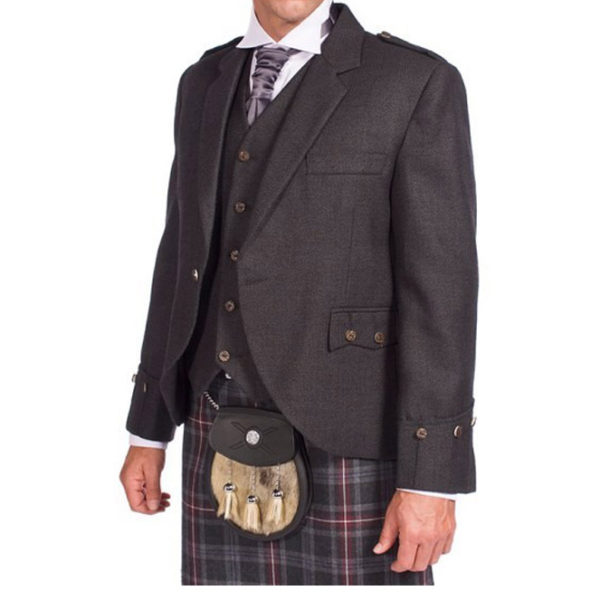 Tweed Argyle Jacket With 5 Button Vest-2