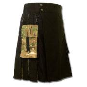 Black Camo Fashion Kilt With Box Pleats