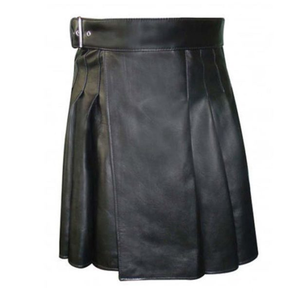 cowhide-black-open-pleated-leather-kilt-1