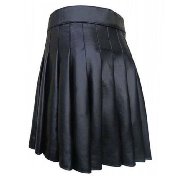 cowhide-black-open-pleated-leather-kilt-back