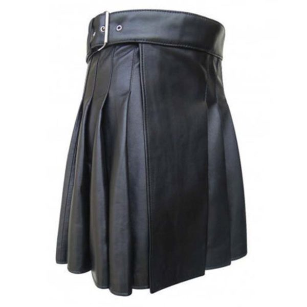 cowhide-black-open-pleated-leather-kilt-side