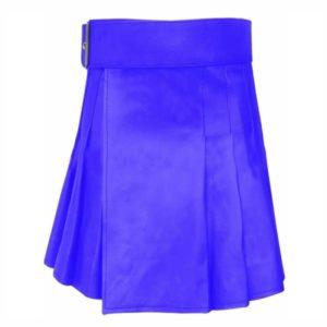 Short Mini Blue Leather Kilt