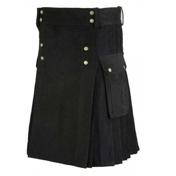 Black-Active-Men-Utility-Cotton-Kilt
