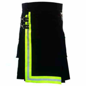 Black-Firefighter-Kilt-with-high-visible-reflector-main