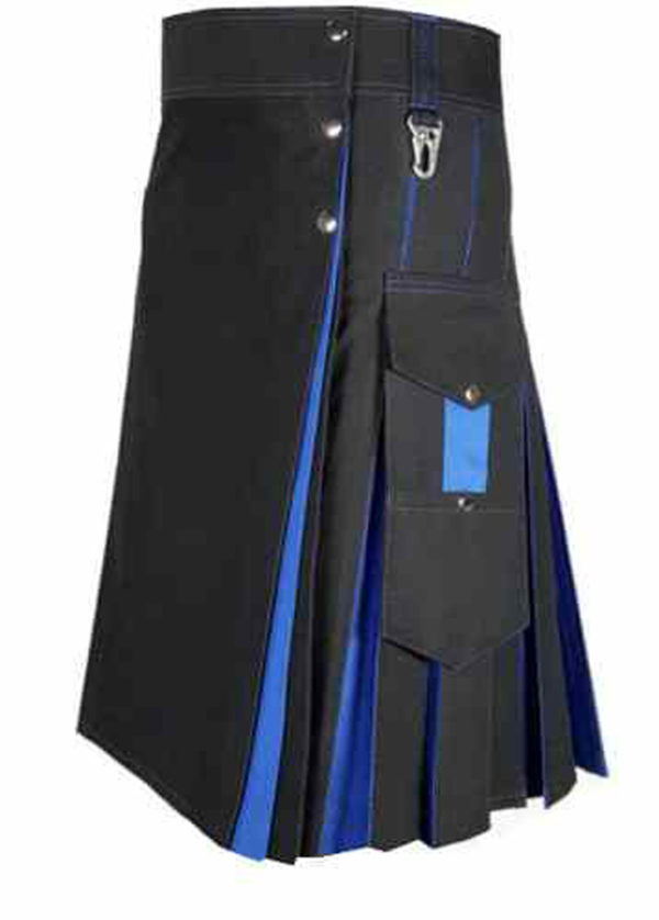 Conquest-Traditional-Black-Blue-Hybrid-Kilt-side