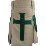 Khakhi-Christ-Kilt-with-Green-Pockets-front