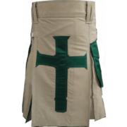 Khakhi-Christ-Kilt-with-Green-Pockets-front