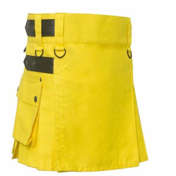 Yellow-Utility-Kilt-with-Leather-Straps