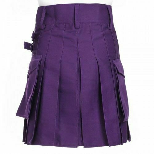Ladies Purple Utility Scottish Kilt Skirt Cotton BNWT Free Ladies Kilt Pin-1