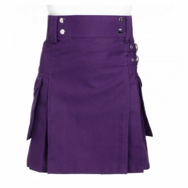 Ladies Purple Utility Scottish Kilt Skirt Cotton BNWT Free Ladies Kilt Pin