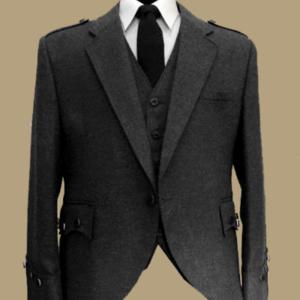 Argyll Jacket With Waistcoat ( Black Color) 100 % WOOL