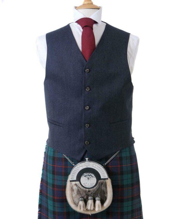 Crail Highland Jacket and Waistcoat in Midnight Blue Arrochar Tweed 1
