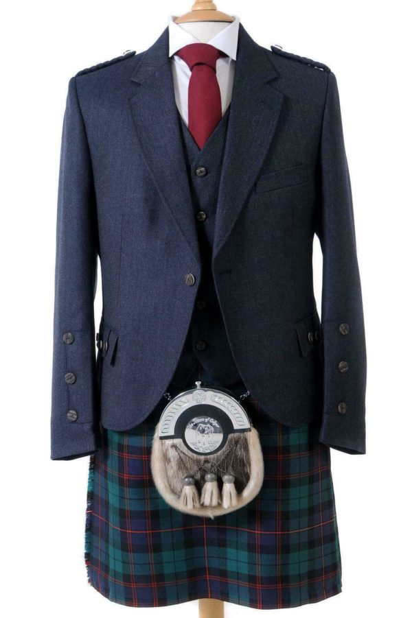 Crail Highland Jacket and Waistcoat in Midnight Blue Arrochar Tweed