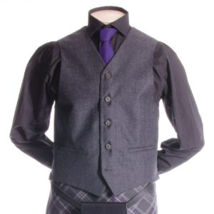 Crail Kilt Jacket and Waistcoat, Grey Charcoal Scottish Kilt 1