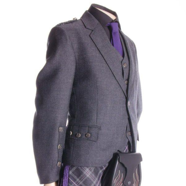 Crail Kilt Jacket and Waistcoat, Grey Charcoal Scottish Kilt