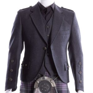 Crail Kilt Jacket and Waistcoat, Grey Charcoal Scottish Kilt