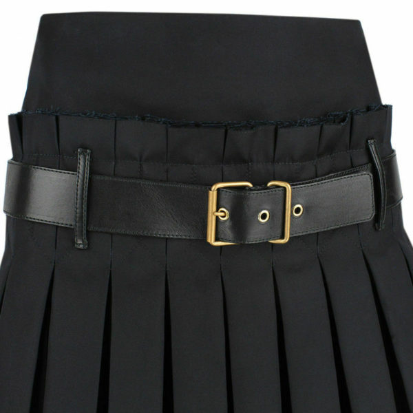 Women Scottish Luxurious Black Box Pleated Kilt Skirt 3