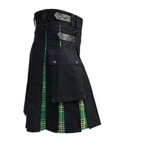 Men's Hybrid Leather Straps Black Cotton Utility Kilt, Black Cotton & Irish