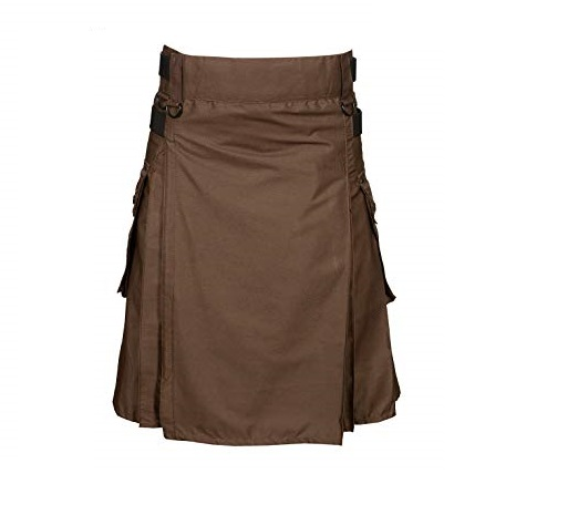 Chocolate Brown Leather Strap Utility Kilt For Active Man Kilt Wedding Kilts