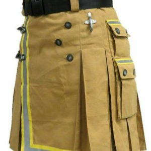Fireman Tactical Duty Kilt Utility Khaki 100% cotton Visible Reflect04