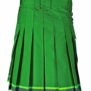 Green stylish Scottish firefighter kilt, made to order, utility kilt for men