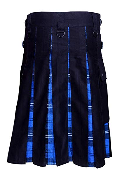 Men Hybrid Utility Kilt 100% Black Cotton with Ramsey Blue Tartan Custom Handmade