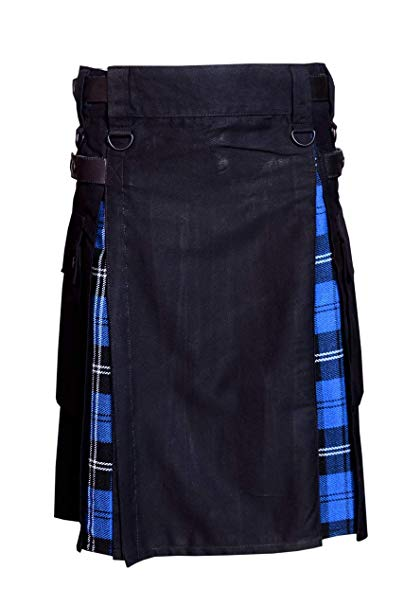 Men Hybrid Utility Kilt 100% Black Cotton with Ramsey Blue Tartan Custom Handmade01