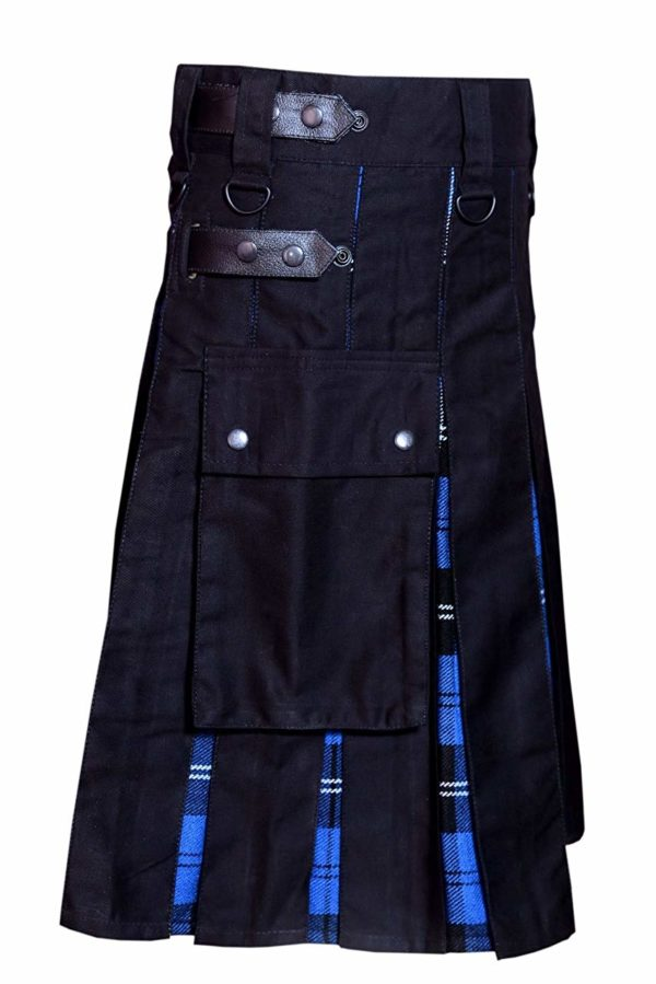 Men Hybrid Utility Kilt 100% Black Cotton with Ramsey Blue Tartan Custom Handmade02