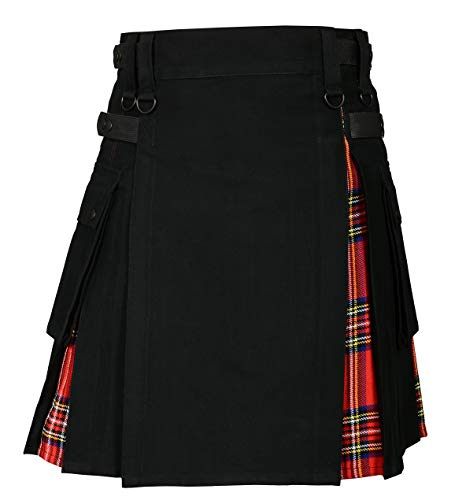 Men s Hybrid Utility Kilt Black & Royal Stewart Tartan02