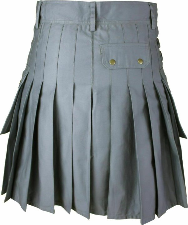 Mens Gray Utility Wedding Kilt 01