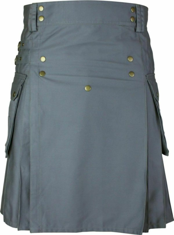 Mens Gray Utility Wedding Kilt 02