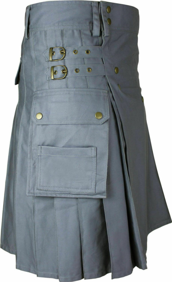 Mens Gray Utility Wedding Kilt