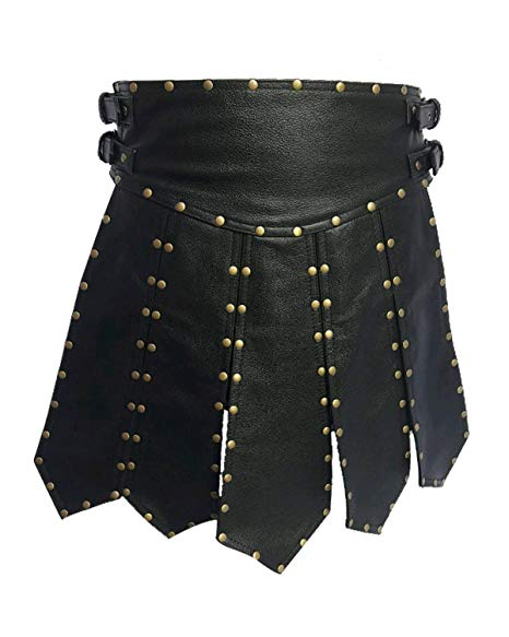 Mens Real Black Leather Heavy Duty Gladiator Kilt