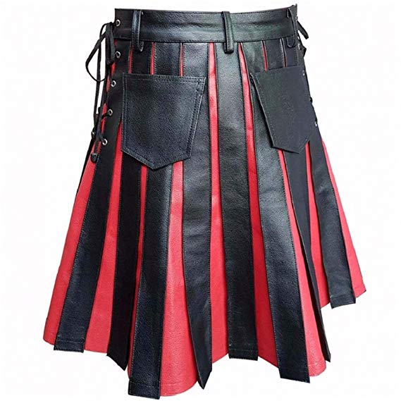 Mens Real Black & Red Leather Kilt Gladiator Pleated