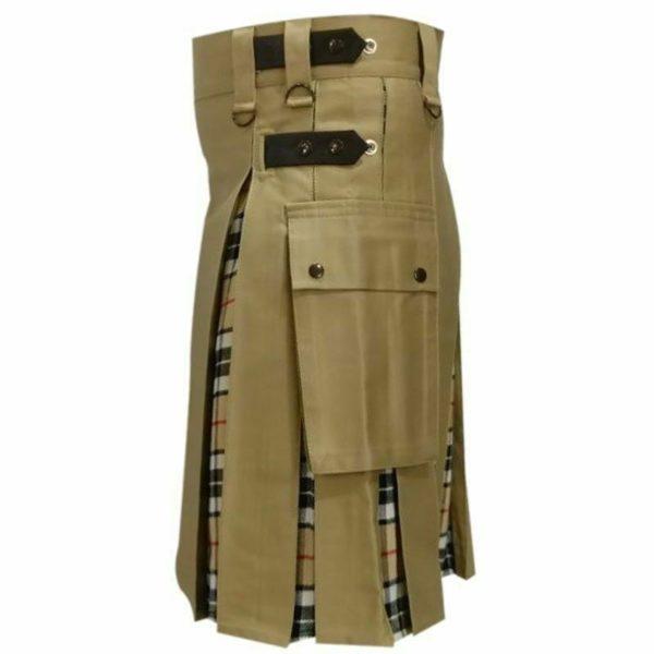 Modern Fashion Extendable Brown & Camel Tartan Tactical Fashion Kilt 100% Cotton01