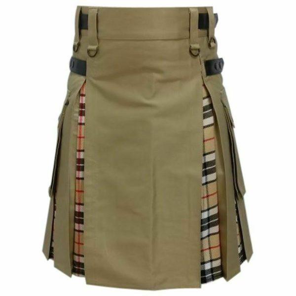 Modern Fashion Extendable Brown & Camel Tartan Tactical Fashion Kilt 100% Cotton02