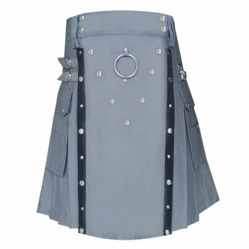 New Men Stylish Gray Utility kilt