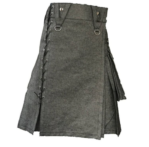 New black denim utility kilts for men with new style