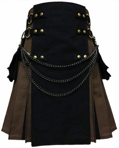 New stylish black Scottish utility kilts for men