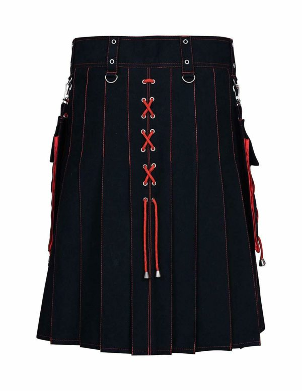 Black and Red Hybrid Kilt | Box Pleated Kilt.This kilt comes in black with stylish pleats, each accented by a thin outline of red thread. In the front of this kilt are three red x's that match the ones running down the side of the kilt and through the pocket