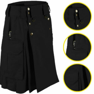 Black Tactical Men's Combat Cargo Kilt
