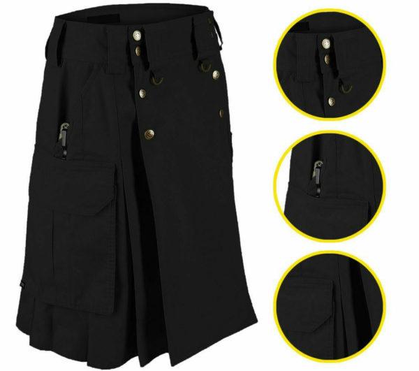 Black Tactical Men's Combat Cargo Kilt