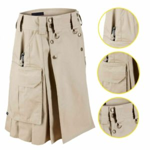 Military Combat Tactical Duty Kilt Police Cargo Urban Uniform Khaki Cotton Kilt