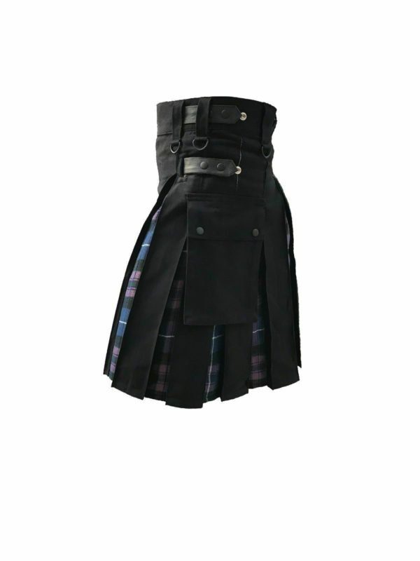 Men's Hybrid Black Cotton & Tartan (Pride Of Scotland) Utility Kilt