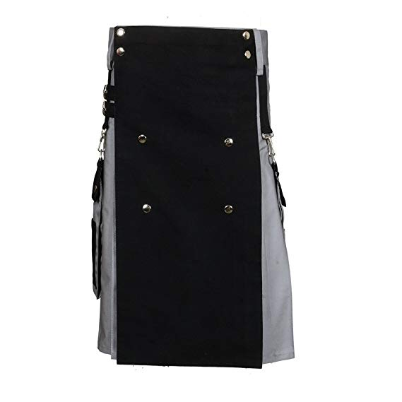 Black & Gray Scottish Two Tone Utility Kilt-