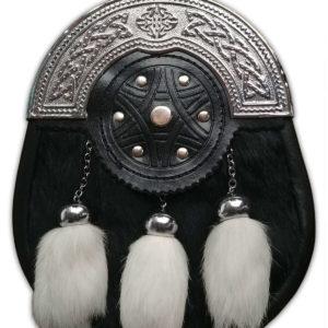 Black and White Rabbit Fur Sporran