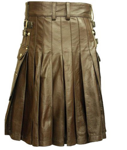 Chocolate Brown Claymore Leather Kilt