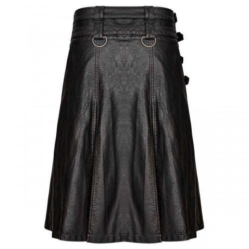 Handmade New Stylish Men's Gothic Fashion Kilt Black Steampunk1